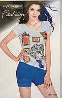 Женский комплект шорты и футболка арт 7702
