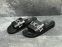 Мужские шлепанцы в стиле Gucci, черные 40 (25,7 см)