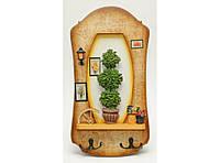 Деревянная ключница (36 х 8 см). Органайзер для ключей настенный