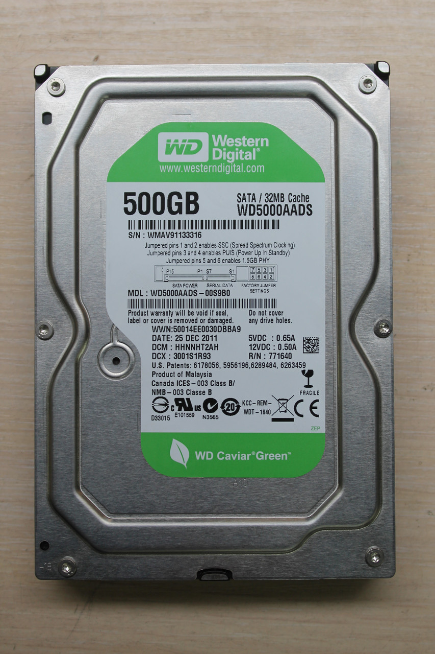 "Жесткий диск Western Digital WD5000AADS 500GB 3.5"" Б/У ""Over-Stock"""