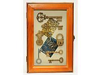 Деревянная ключница (30 х 20 см). Органайзер для ключей настенный, фото 1