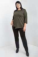 Стильный женский брючный костюм больших размеров хаки