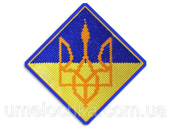 Набор для изготовления картины со стразами Герб Украины 13,5*13,5 см Код 198250