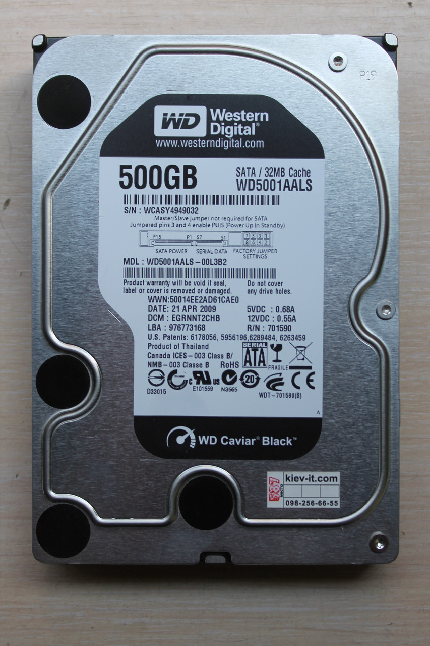 "Жесткий диск Western Digital WD5001AALS 500GB 3.5"" Б/У ""Over-Stock"""