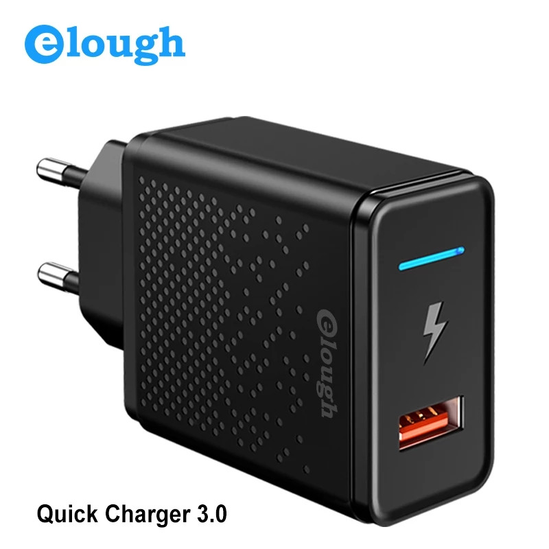 Универсальное зарядное устройство Elough CL01 Quick Charge 3.0 Быстрая зарядка 18 ВТ Black