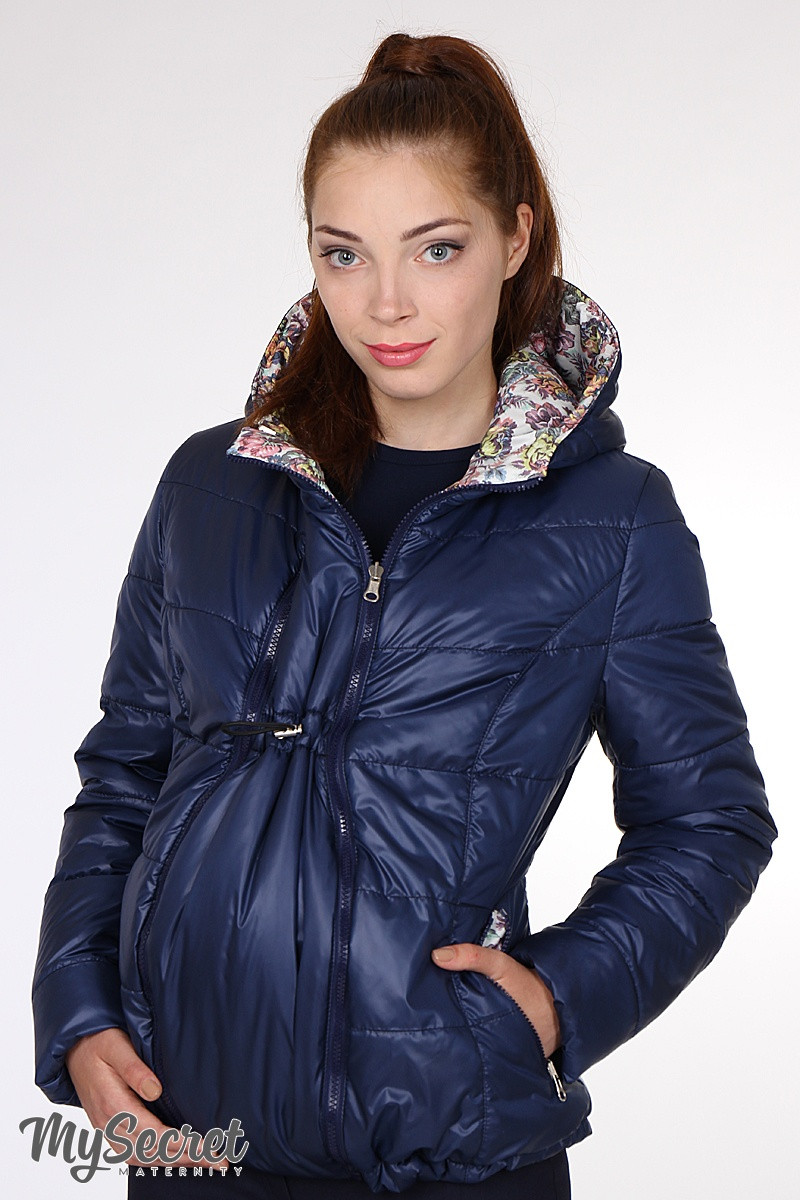 fe1681e2c8e0 Демисезонная куртка для беременных Floyd, двухсторонняя, синий + цветочный  принт