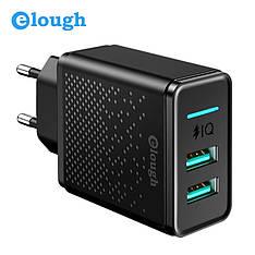 Універсальний зарядний пристрій Elough CL02 d-power GC-06 на 2 USB порту 5V 2.4 A Black