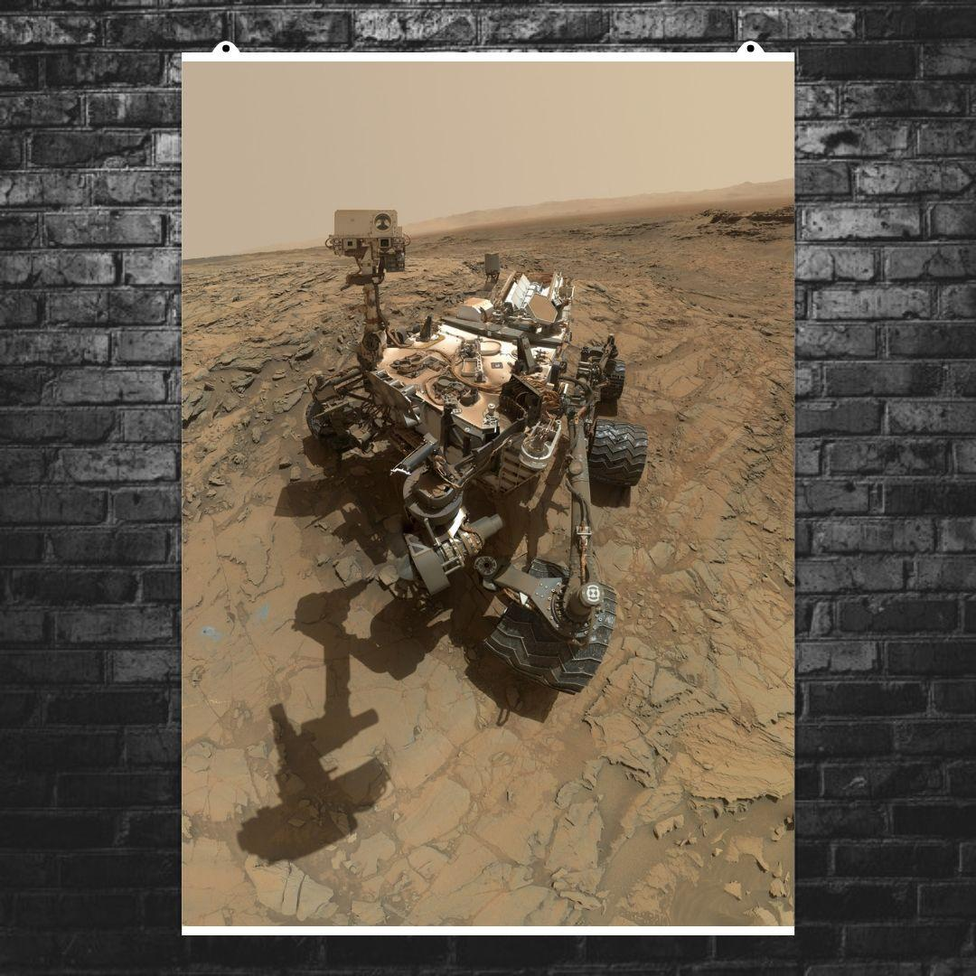 """Постер """"Кьюриосити на поверхности Марса"""". НАСА, NASA, Curiosity, Марс. Размер 60x43см (A2). Глянцевая бумага"""