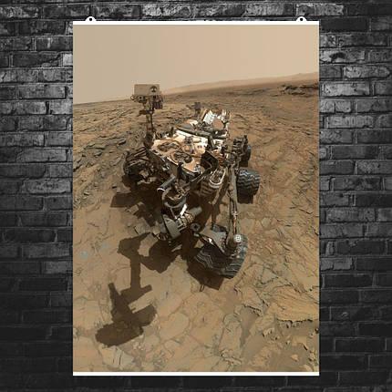 """Постер """"Кьюриосити на поверхности Марса"""". НАСА, NASA, Curiosity, Марс. Размер 60x43см (A2). Глянцевая бумага, фото 2"""