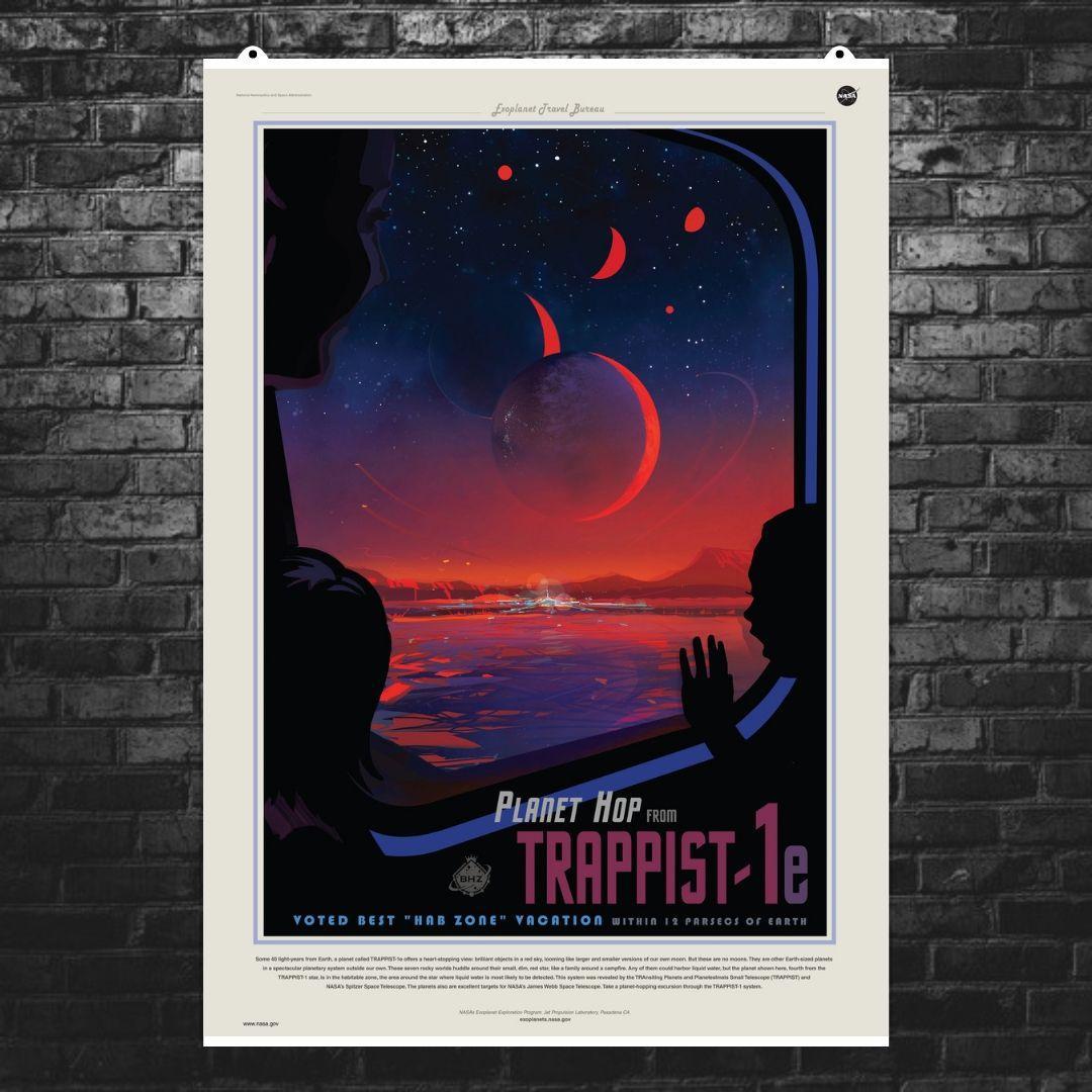 "Постер ""Экзопланета Trappist-1e"". НАСА, NASA. Размер 60x42см (A2). Глянцевая бумага"