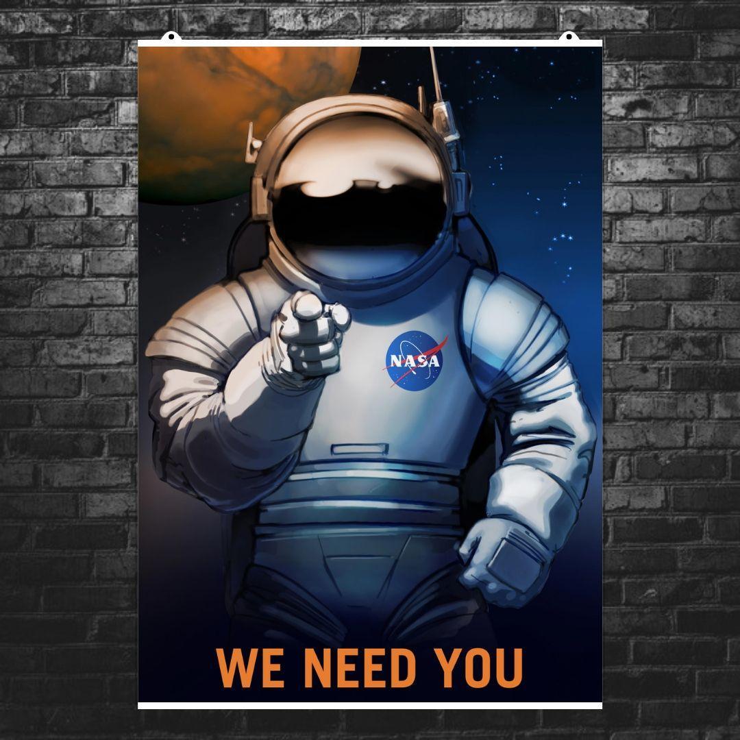 """Постер """"We need you!"""". Агитплакат НАСА. Размер 60x43см (A2). Глянцевая бумага"""