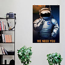 "Постер ""We need you!"". Агитплакат НАСА. Размер 60x43см (A2). Глянцевая бумага, фото 3"