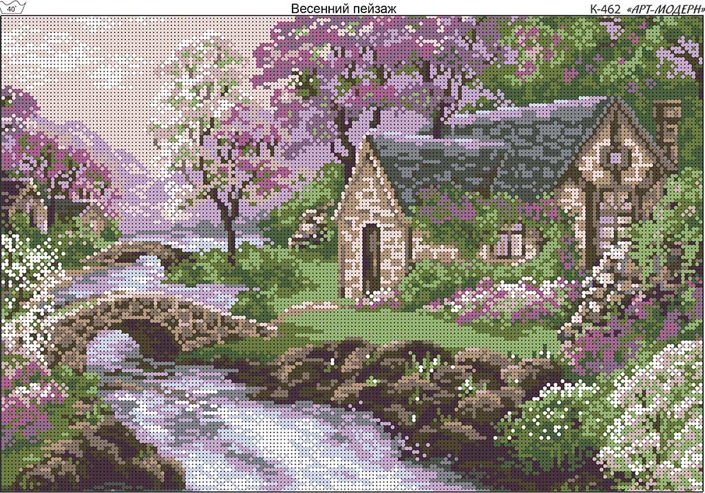 Схема вышивки бисером на габардине Весенний пейзаж