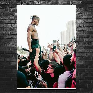 """Постер """"XXXTentacion в толпе"""". Рэпер Джасей Дуэйн Рикардо Онфрой. Размер 60x42см (A2). Глянцевая бумага"""