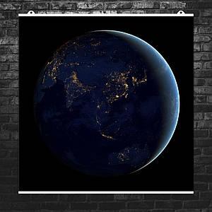 """Постер """"Фото ночной стороны Земли из космоса"""". Размер 60x60см (A1). Глянцевая бумага"""