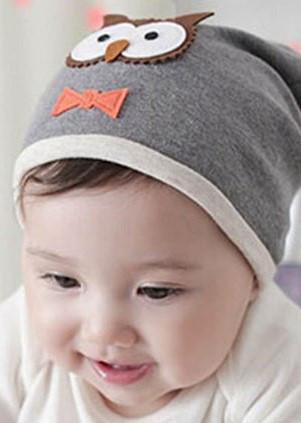Шапочки  Bape детские для мальчика и девочки  Совушка серая  до 2 лет