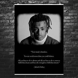 "Постер ""XXXTentacion, ч\б фото и текст"". Рэп, рэпер. Размер 60x43см (A2). Глянцевая бумага"
