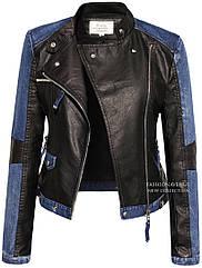 Куртка демисезонная женская эко-кожа с джинсовыми вставками № 101