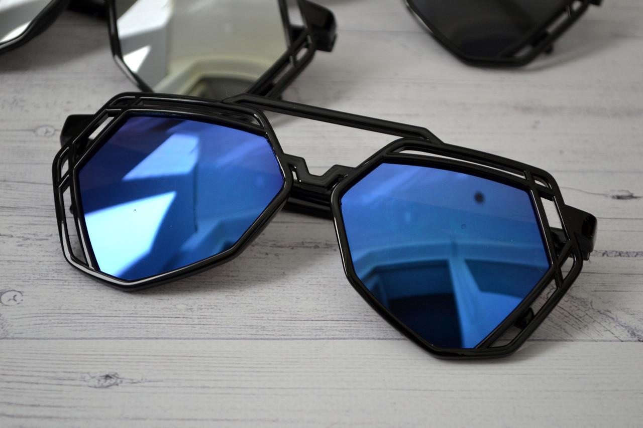 Солнцезащитные  очки авиаторы капли унисекс ажурные Синий