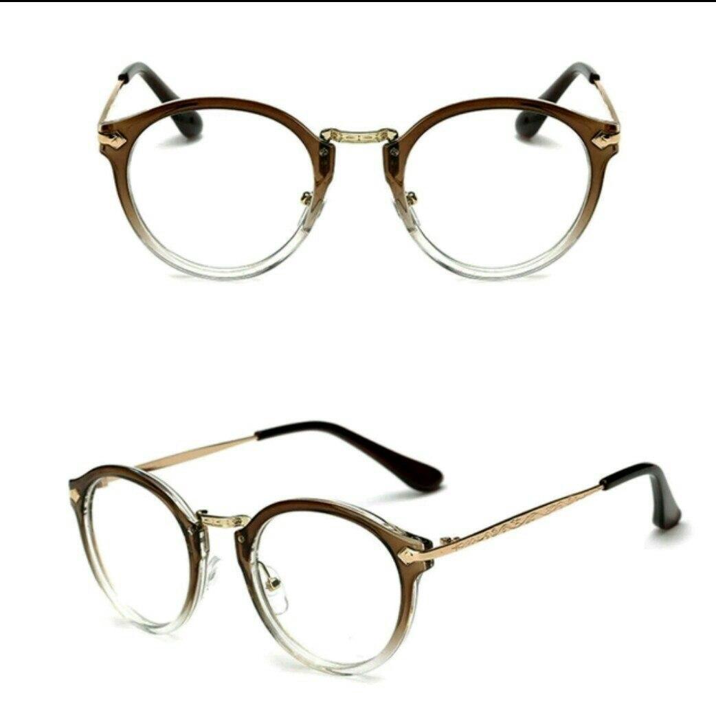 Имиджевые очки с  прозрачной линзой круглые с металлическими дужками №2