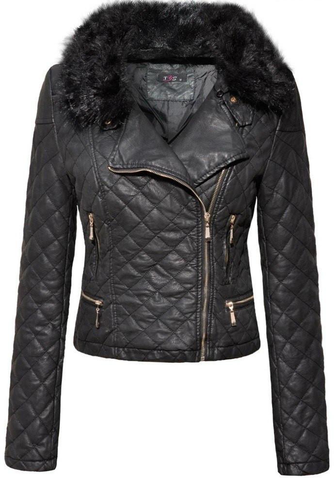 Куртка демисезонная женская эко-кожа с меховым воротником