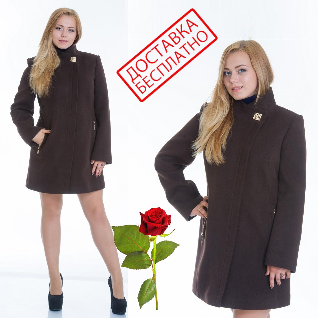 Кашемировое пальто приталенного силуэта с воротником стойкой L 069001 Шоколад