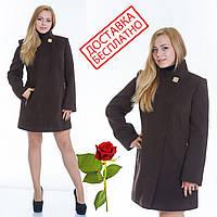 Кашемировое пальто приталенного силуэта с воротником стойкой L 069001 Шоколад, фото 1
