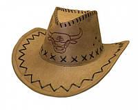 Ковбойская шляпа с орнаментом бежевая