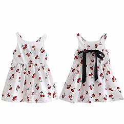 Детское летнее платье с принтом, лента на спине Вишня белый