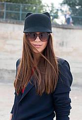 Женская  фетровая шапка с козырьком и ушками Жокейка
