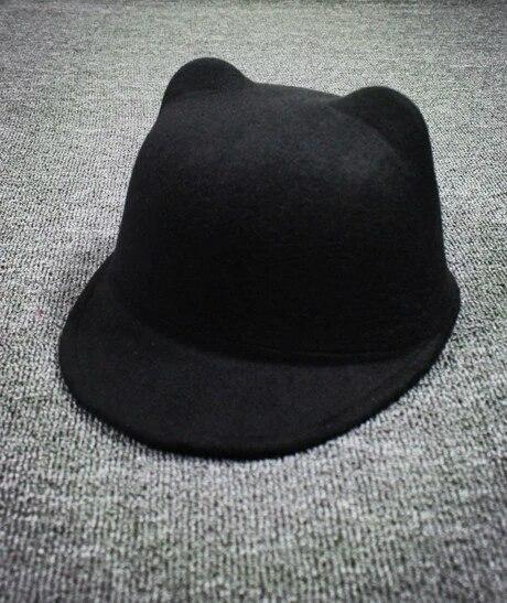 Женская  фетровая шапка с козырьком и ушками Жокейка Чёрный