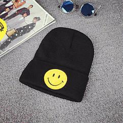 Шапка молодёжная черная со смайликом( Эмоции) Smile, Улыбка