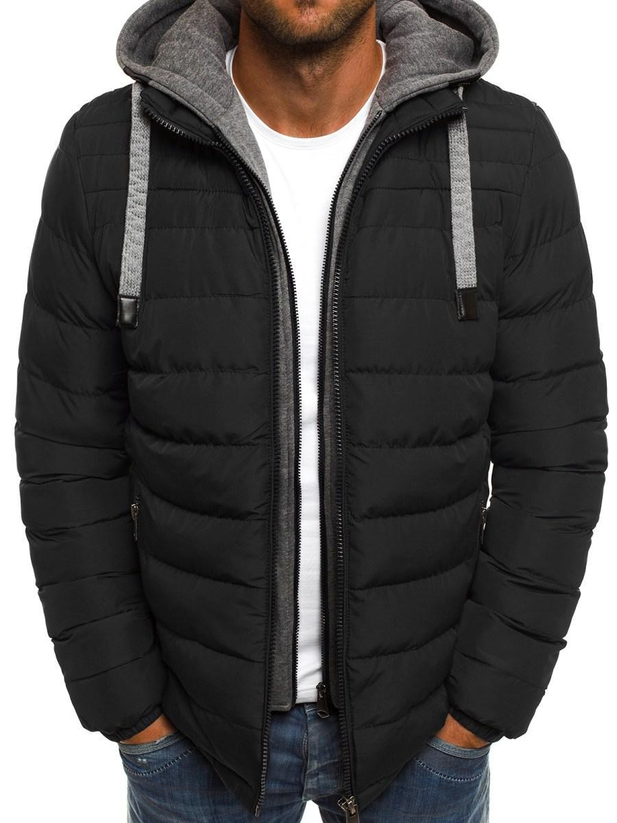 Мужская зимняя стёганая куртка с серым капюшоном