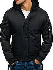 Мужская зимняя  куртка с капюшоном с декоративными лентами