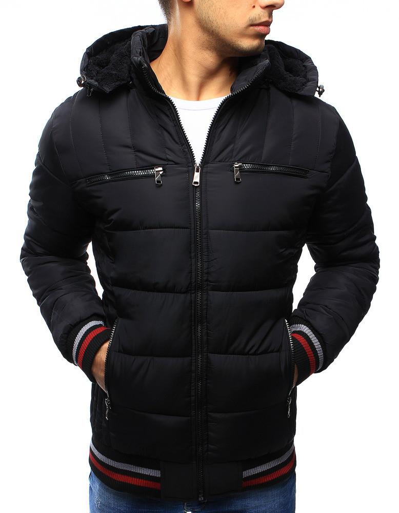 Зимняя мужская стеганная куртка с красно-белыми вставками на манжетах