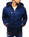 Зимняя мужская стеганная куртка с красно-белыми вставками на манжетах, фото 3