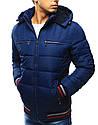 Зимняя мужская стеганная куртка с красно-белыми вставками на манжетах, фото 4
