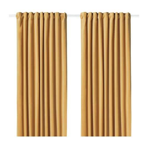 ИКЕА (IKEA) САНЕЛА, 304.189.02, Затемняющие шторы, 1 пара, золотисто-коричневый, 140x300 см - ТОП ПРОДАЖ