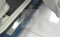 Защитные хром накладки на пороги Hyundai accent 4D/5D (хюндай акцент седан / 5-ти дв. хэтчбек 2006-2010)