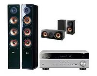Домашний кинотеатр YAMAHA MusicCast RX-D485 titanium,Pure Acoustics NOVA8,NOVA6 black