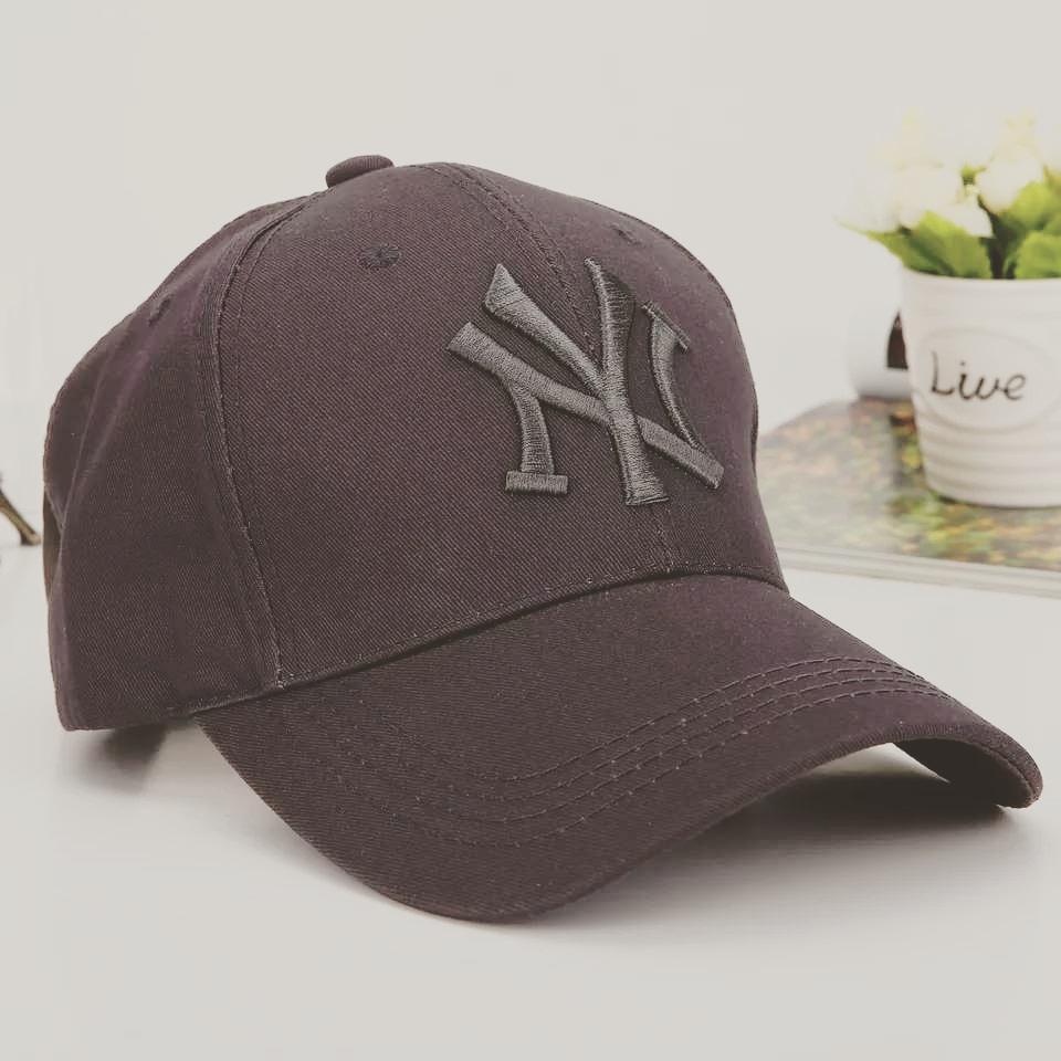 Кепка бейсболка в стиле NY (Нью-Йорк) Серая, Унисекс