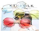 Солнцезащитные многоугольные очки  с цветной линзой Желтый, фото 5
