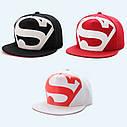 Кепка снепбек S супермен с прямым козырьком Белая, Унисекс, фото 2