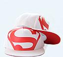 Кепка снепбек S супермен с прямым козырьком Белая, Унисекс, фото 3