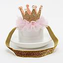 Корона на голову  детская на резинке Малиновый, фото 2