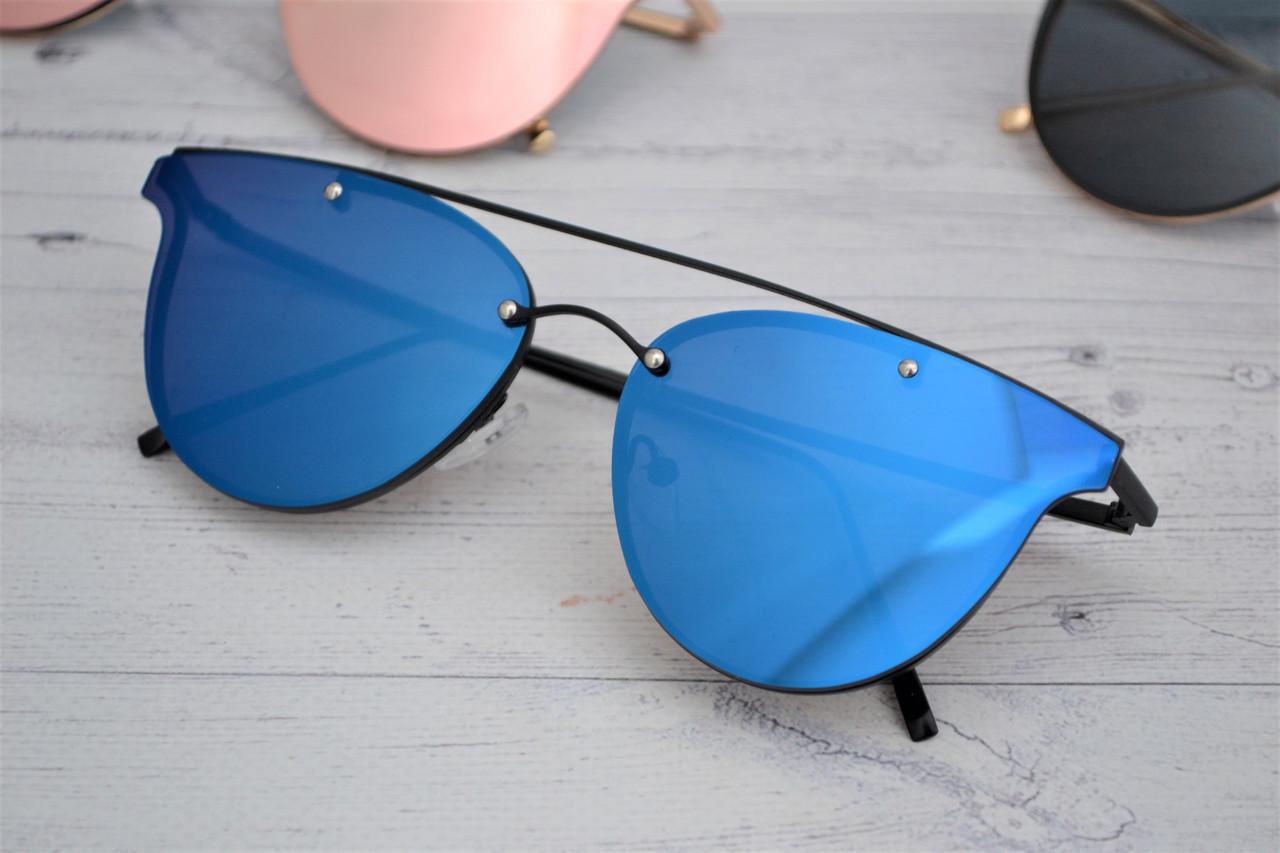Стильные  женские зеркальные солнцезащитные очки Синий