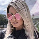 Солнцезащитные очки авиаторы капли унисекс в тонкой оправе Чёрный, фото 9