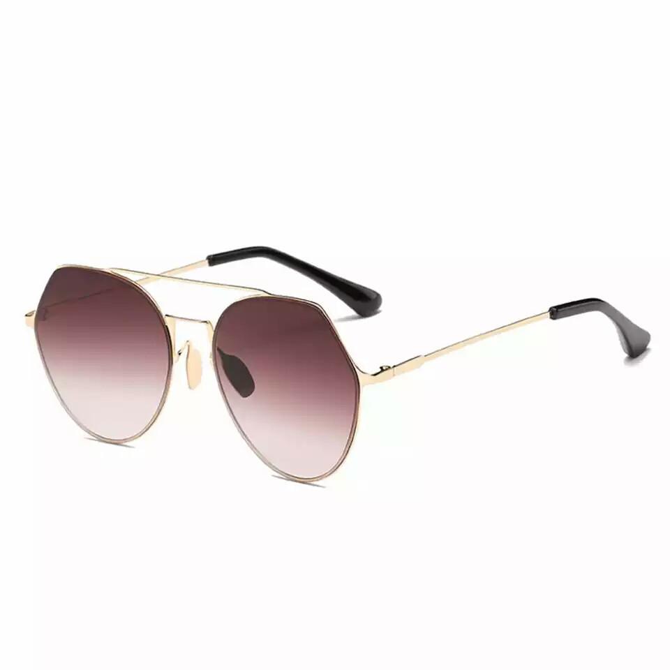 Солнцезащитные очки авиаторы капли унисекс в тонкой оправе Коричневый