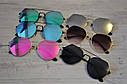Солнцезащитные очки авиаторы капли унисекс в тонкой оправе Коричневый, фото 8