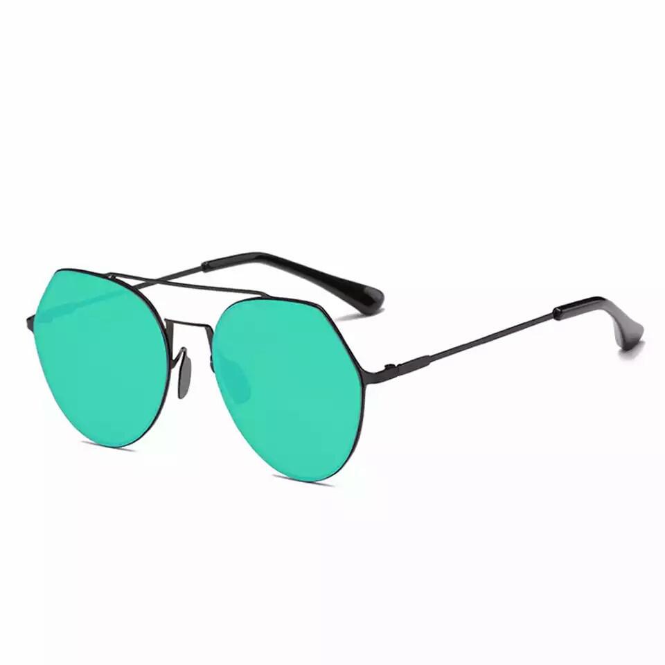 Солнцезащитные очки авиаторы капли унисекс в тонкой оправе Зелёный